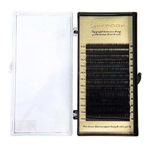 Lunamoon estensioni ciglia finte singoli false eyelashes naturale volumi salone professionale uso perfetto per il trucco fatti a mano b-curl spessore 0.1mm/0.15mm lunghezze miste 7-14mm (0.15mm)