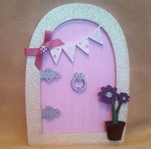 Pink glitter fairy faerie elf pixie door with bunting for Amazon uk fairy doors