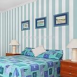 KYKDY Streifen Tapeten Rollen weiß gestreifte Tapete modernen blauen Streifen Wohnzimmer Wallpaper Non Woven, Schlafzimmer Papier Hintergrund, Blau, 53 CM X 10 M