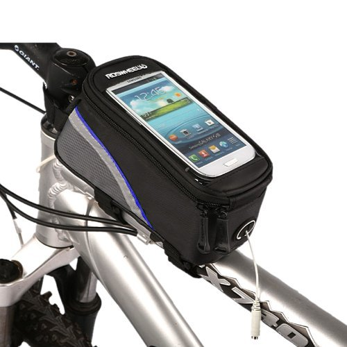 Roswheel Cycling Bike Bicycle Frame Pannier Front Top Tube Bag X Large Waterproof for iPhone Samsung 5.5 inch Mobile Cell Phone Blue Black (Pannier Bag)