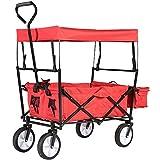 Jalano Faltbarer Handwagen Bollerwagen Transportwagen Wagen Rot mit Dach