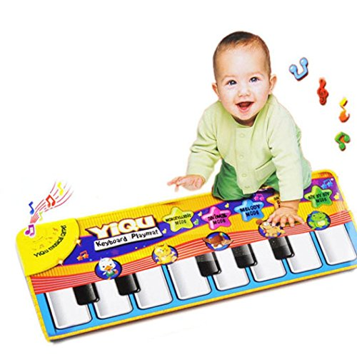 Piano Mat, Multi-function Musical Carpet Baby Toddler Activity Gym Play Mats, Fat.chot Baby Early Education Music Piano Keyboard Blanket Touch Play Safety Learn Singing Funny Toy for Kids 51gXxP4qRDL