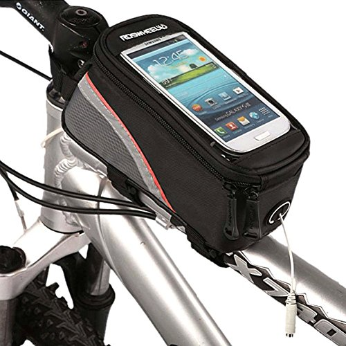 Roswheel Radfahren Mountain Bike Fahrradrahmen Tasche Rahmentasche Oberrohrtasche Handytasche mit transparentem PVC-Fenster für Handys Größe S / M / L (Red, M)