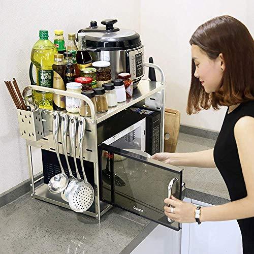 IG Lagerregal Geeignet für die Küche Home Office Wohnzimmer , Lagerregal, 2-Ebenen-Eck-Mikrowellen-Ständer Arbeitsplatte Kleine Küche Edelstahl-Ofen
