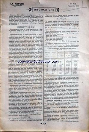NATURE (LA) [No 2440] du 08/01/1921