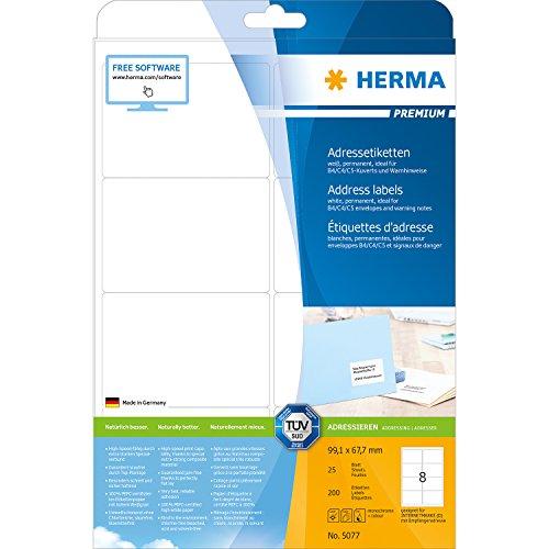Herma 5077 Adressetiketten (99,1 x 67,7 mm Premium DIN A4 Papier matt, weiß) 200 Stück auf 25 Blatt, bedruckbar, selbstklebend