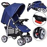 COSTWAY Kinderwagen Babywagen Buggy Kinderbuggy Sportwagen Spazierwagen Reisebuggy Farbwahl klappbar (blau)