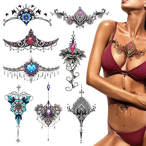 Phogary 8 hojas Sexy Etiqueta engomada del tatuaje temporal para mujeres Pecho/Cintura/Espalda Inferior, Cuerpo de henna Mandala de mama Etiqueta engomada del tatuaje Arte corporal a prueba de agu