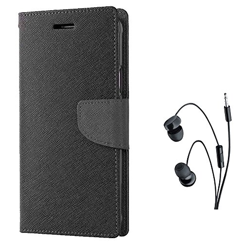 Avzax Diary Look Flip Case Cover For Gionee S6S (Black) Witj In Ear Headphone