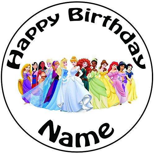 Disney Eine Wie Prinzessin Man Kann Sich (Personalisierter Disney Prinzessinnen Zuckerguss Kuchen Topper / Kuchendekoration - 20 cm Großer Kreis - Jeder Name Und Jedes)