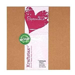 Papermania 8 x 8-inch Kraftstax Premium Kraft Paper Inserts Eco Cardstock, Pack of 20, Brown
