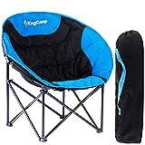 KingCamp Moon Chair Campingstuhl mit Rückentasche und Getränkehalter Blau