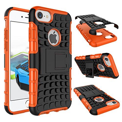 BCIT iPhone 7 Cover - Alta qualità Doppio Strato ibrido Cellulari Case Custodia protettivo Per iPhone 7 - Arancione Arancione