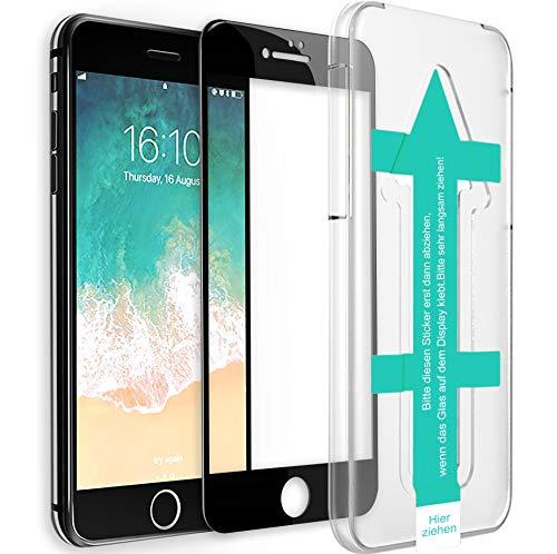 XeloTech 3D/4D Fullcover Schutzglas passend für iPhone 8/7 mit Schablone für perfekte Positionierung - Schützt komplettes Display - Full Cover Vollglas (Schwarz) Full Cover