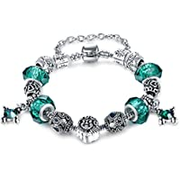 Vintage European Hot Fashion Style Green Murano Glass Charm Heart Beaded Silver Plated Diy Bracelet 7.48 by Aurora Tears