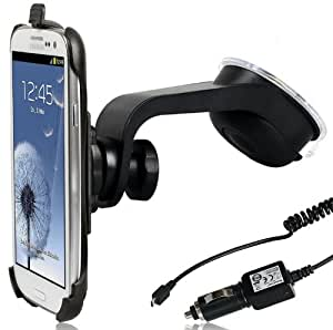 Wicked Chili Design KFZ Halterung für Samsung S3 (i9300 / i9305) / S3 Neo (i9301) (passgenau, vibrationsfrei, Made in Germany) + 1000 mA Auto Spiral Ladekabel (100cm, 12/24V)