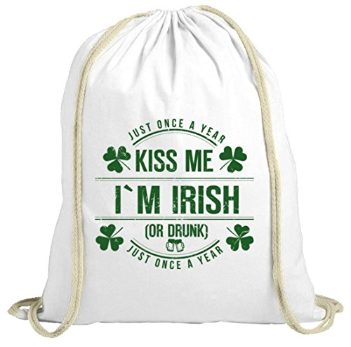 Irland St. Patrick's Day natur Turnbeutel Gym Bag Kiss Me I'm Irish weiß natur