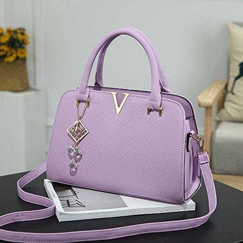 damen-mode V-Förmige handtasche Große tasche Schulter messenger bag Lila
