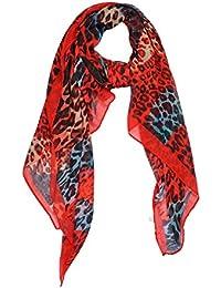 DonDon Damen Schal mit Leoparden Leo Muster 180 cm - 90 cm