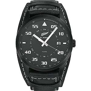 All Blacks - 680161 - Montre Homme - Quartz Analogique - Cadran Noir - Bracelet Cuir Noir