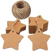 Etiquetas de estrella, etiquetas de regalo de papel Kraft de 100 piezas con cadena de yute de 100 pies, ideal para etiquetas de favor de bodas, etiquetas de precio, etiquetas de equipaje (marrón)