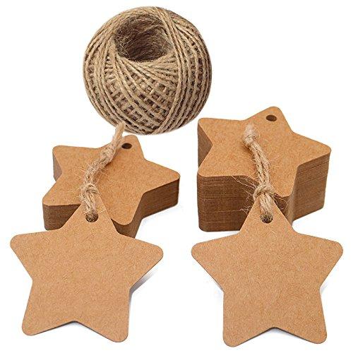 100pcs etiquetas de papel Kraft etiquetas de regalo con forma de estrella 100pies de cuerda de yute natural, Idea para boda Favor etiquetas, fiesta Etiquetas para regalo, etiquetas precio, Etiquetas de equipaje