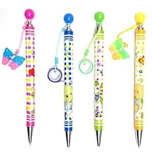 Lot de 4 crayons de bois Colorés avec pendentif fantaisie