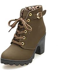 BUIMIN Las Mujeres Zapatos Botas Martin de Fondo Grueso de Tacón Altos, Casuales, Elegante,Cómodo, Talla 35-40,