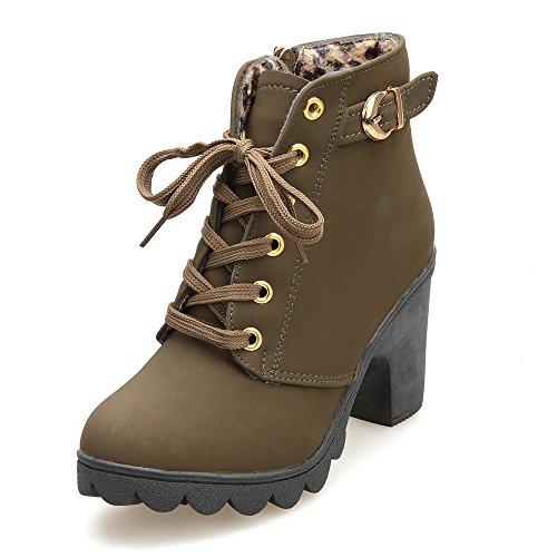 Beladla Mujer Botines TacóN Alto Plataforma Muslo Zapatos De Cuero Plataforma Impermeable AdemáS De Terciopelo Botas De Mujer Cabeza Redonda Botas Martin