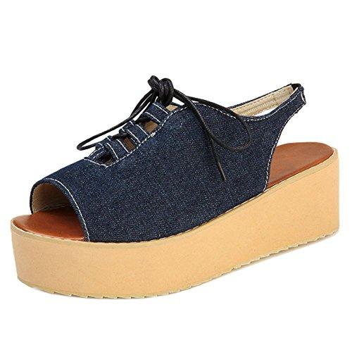 TAOFFEN Femmes Decontracte Platefrome Sandales Mules A Lacets Denim Dark Blue