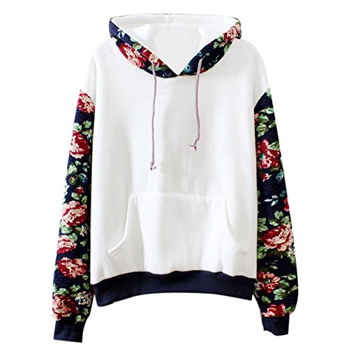ROMANTIC BEAR Frauen Casual Sports Floral Fleece Hoodie Sweatshirt Pullover Mit Kapuze Mantel (Bear Fleece Hoodie)