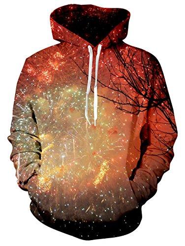 BFUSTYLE Hommes et Femmes 3D Print Crewneck Colorful Fireworks Sweatshirt Capuche avec de grandes poches