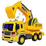 HERSITY Excavadora Coches de Construccion Camiones Grandes de Juguetes con Luces y Sonidos para Niños