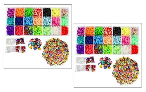 Bastel-Set mit 8.800 Gummibänder Loom, verschiedene Charms, S- & C-Clips (2er Set Box: 8.800 Bänder)