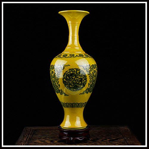 14 * 30cm/Gelbe Vase Antike Vase Blaue Und Weiße Porzellanflasche Bücherregal Dekoration/Gelb/Chinesischen Stil,E (Antik-weiße Bücherregal)