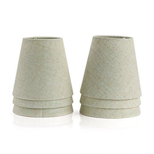 Fuloon 6 Piezas Pantalla de Tela Tejida para E14 lámpara de Vela de cristal/lámpara de Pared (Beige)