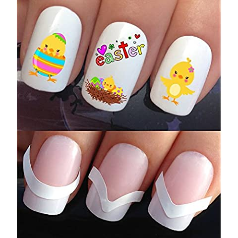 NAIL DECALS WATER TRANSFERS STICKERS TATTOO ART SET #637 & 172. **plus x48 nail tip guides!!** x24 EASTER CHICKS IN NEST AND EGGS TATTOO WRAPS & x48 FRENCH MANICURE TIP GUIDES! CAN BE USED WITH NATURAL GEL ACRYLIC STICK ON NAILS! OR WITH GLITTER DUST CAVIAR BEADS ALLOYS DECORATIONS CONFETTI FIMO SHAPES TAPE PENS RHINESTONES! by Nailicious