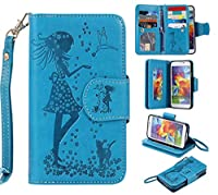 Galaxy S5 Case, CUSKING Premium Leather Wallet Stand Flip Folio Case for Samsung Galaxy S5 Protective Bumper Shockproof Case with Card Holder and Strap - Blue