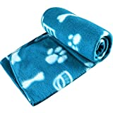 New Pet Touch Soft Fleece Pet Blanket Dogs Puppy Cat Kittens Blankets Paws & Bones Print ((73 X 70) cm, Blue (White Paws))