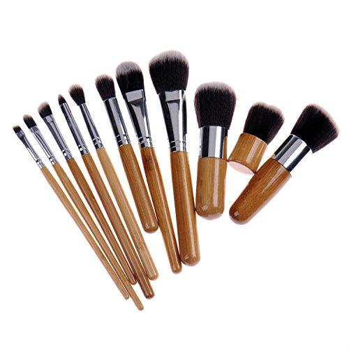 Manette synthétique Set de pinceaux à maquillage Poignée en Bambou Fondation Blush Estompeur Correcteur Yeux Visage Pinceaux Cosmétique avec peigne à sourcils
