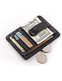 Teemzone Billetera de Hombres Cartera de Cuero Genuino Pinza para Billetes Bolsillo de Caso Identificación Tarjeta