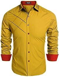 951d2013f2d59 Coofandy Camisa de Vestir Hombre Manga Larga de Trabajo Multcolor de Algodón
