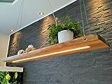 Deckenlampe Hängelampe Pendelleuchte aus Holz Holzlampe Dimmbar per Fernbedienung Douglasie Nussbaum 120cm Hängeleuchte mit Unterlicht Unikat