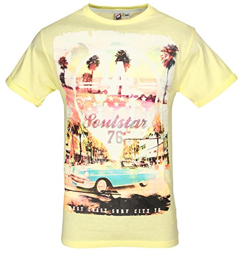 Soul Star Rundhalsausschnitt MT Cruz La Los Angeles Surf Beach Print T-Shirt Zitronengelb