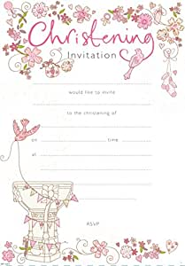 Christening Invitations (Pack of 20 Sheets) - Girl