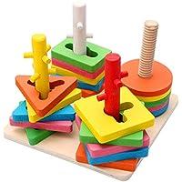 Preisvergleich für QXMEI Kinderspielzeug Kinder Bausteine Holzblöcke Frühe Kindheit Lernspielzeug Produkt Größe: 6 3 Zoll * 6 3 Zoll * 4 9 Zoll