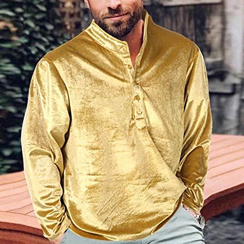 serliy Herren Gold Velvet Solid Color Langarmshirt Herren Freizeithemd Henley Langarm Regular Fit Kragenloses Shirt -