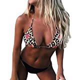 2pcs Bikini Due Pezzi/Costumi da Bagno Donna/Costume da Bagno Bikini Due Pezzi Ragazza Mare Sexy Stampa Leopardo Triangolo Costume Imbottito Push Up Set Bikini Beachwear/Brasiliana Bikini