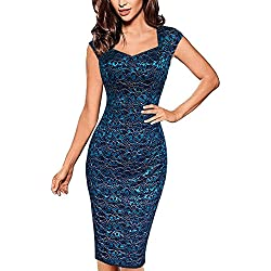 Vestidos para Mujer Vintage Encaje Coctel Vestidos de Fiesta Negocios Bodycon Cortos Vestidos Azul M