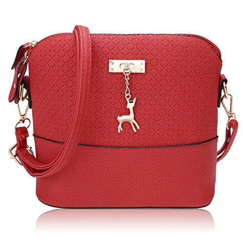 Damen Mädchen Fashion Klassiker Umhängetasche Elegant Hobo Geprägte Leder-Kurier Handtasche Schultertasche Rot